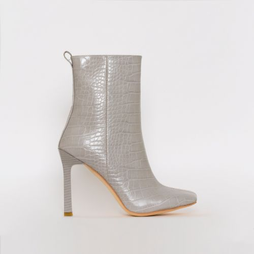 Burra Light Grey Croc Print Stiletto Ankle Boots