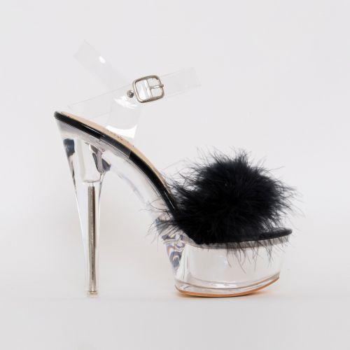 Lanny Black Patent Fluffy Clear Platform Heels