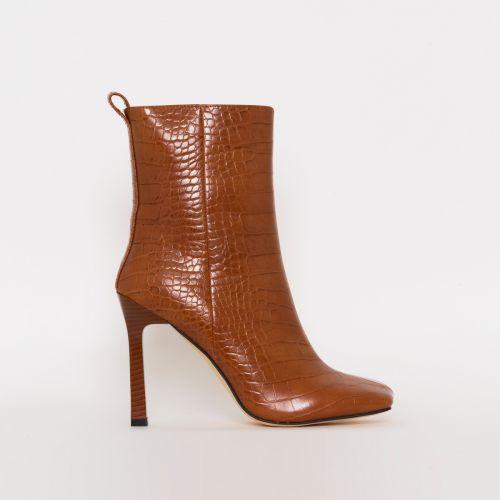 Burra Tan Croc Print Stiletto Ankle Boots