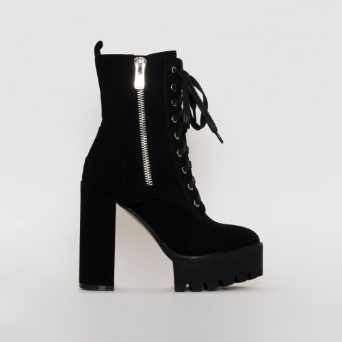 Leoni Black Suede Lace Up Platform Ankle Boots