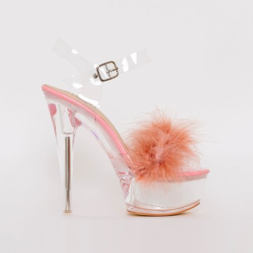 Lanny Pink Patent Fluffy Clear Platform Heels