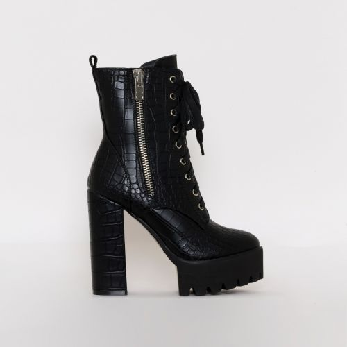 Leoni Black Croc Lace Up Platform Ankle Boots