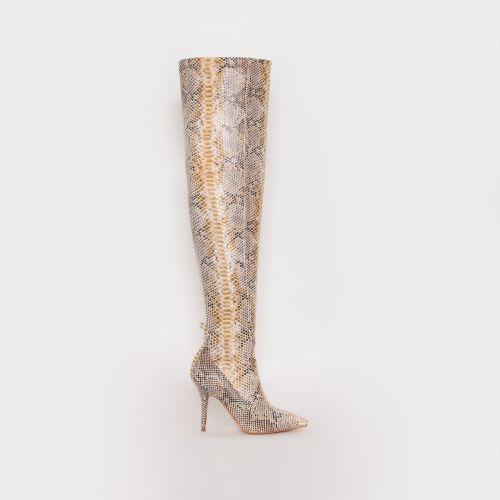 Katia Beige Python Thigh High Boots