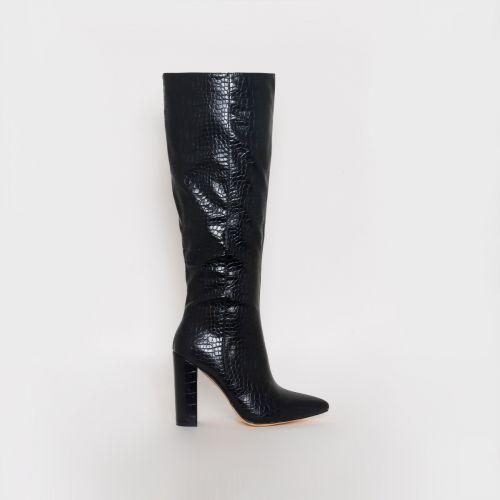 Viena Black Croc Print Block Heel Knee Boots