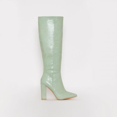 Viena Light Mint Croc Print Block Heel Knee Boots
