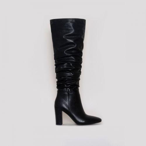Kimona Black Snake Print Ruched Block Heel Knee Boots