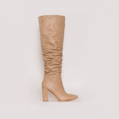 Kimona Dark Beige Snake Print Ruched Block Heel Knee Boots