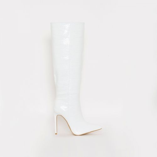 Delia White Croc Print Stiletto Knee Boots