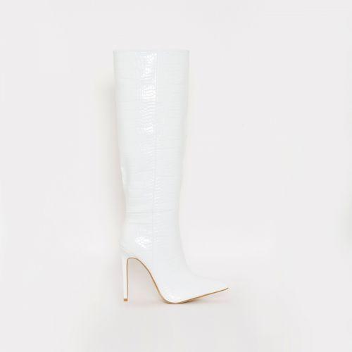 Delia White Croc Print Stiletto Knee Boots