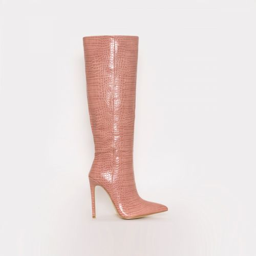 Delia Dusty Pink Croc Print Stiletto Knee Boots