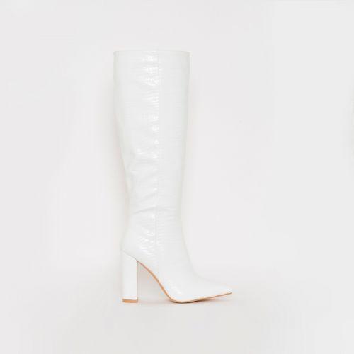Viena White Croc Print Block Heel Knee Boots