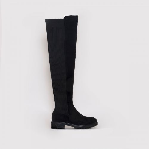 Jira Black Suede Over The Knee Flat Boots