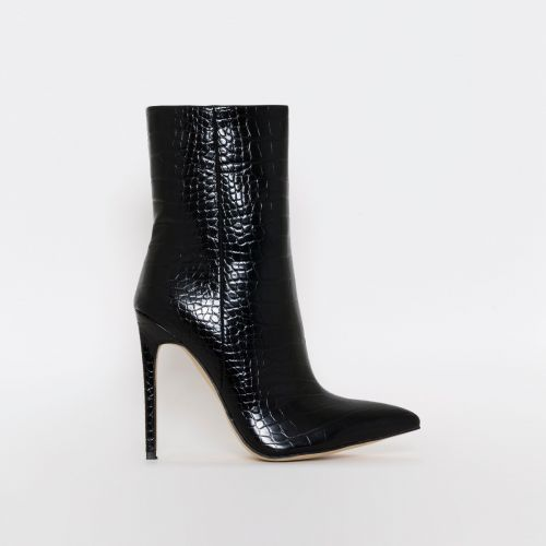 Melia Black Croc Print Stiletto Ankle Boots