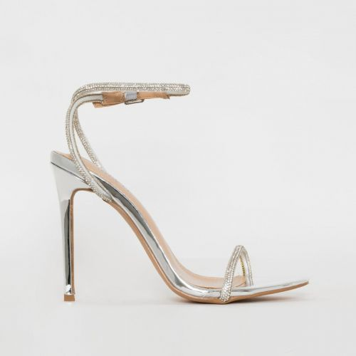 Ieva Silver Mirror Diamante Stiletto Heels