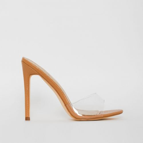 Jules Nude Snake Print Clear Stiletto Mules