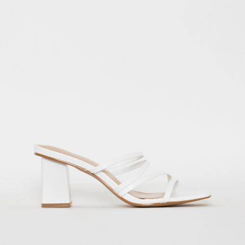 Rexel White Lizard Print Strappy Mid Heel Mules