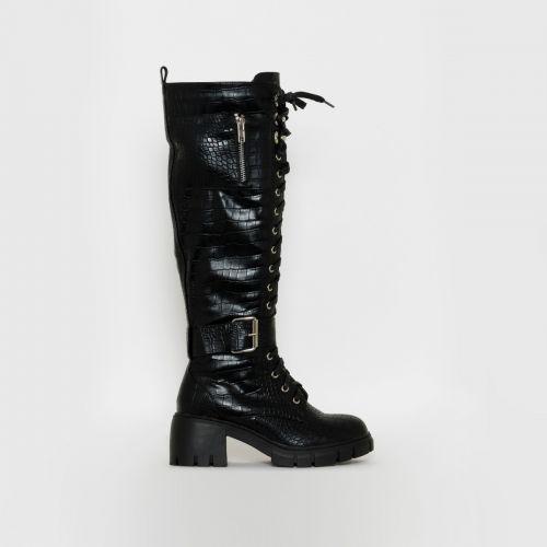 Bonnie Black Croc Print Chunky Lace Up Boots