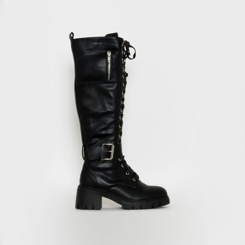 Bonnie Black Chunky Lace Up Boots