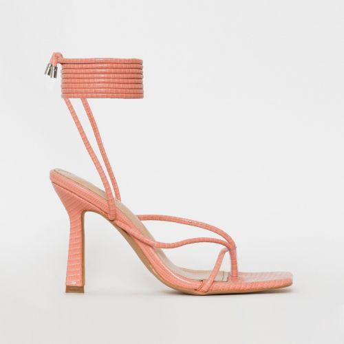 Jonas Pink Lizard Print Lace Up Mid Heels