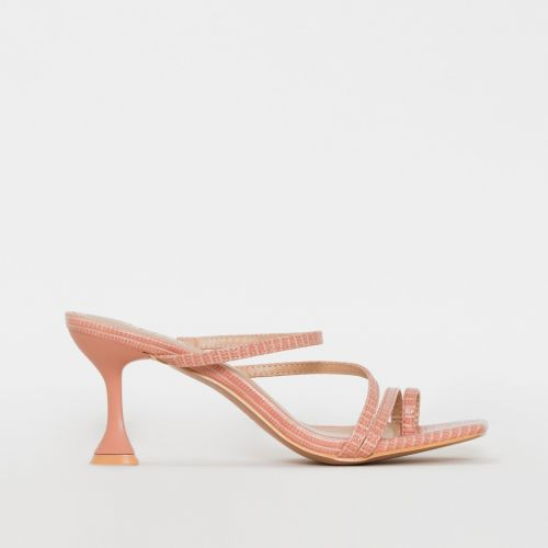 SONIA X FYZA Habibi Pink Lizard Print Flared Midi Heel Mules