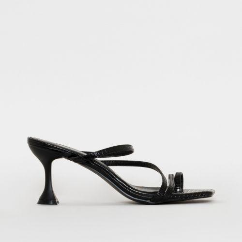 SONIA X FYZA Habibi Black Lizard Print Flared Midi Heel Mules