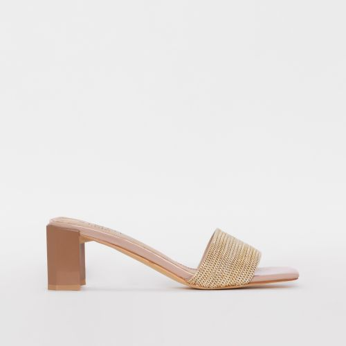 Romie Nude Gold Chain Block Mid Heel Mules