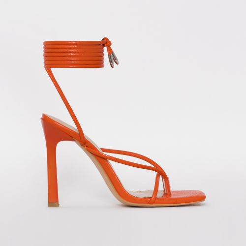 Kimani Orange Faux Snake Print Lace Up Stiletto Heels