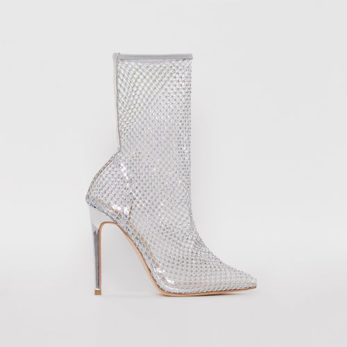 Krystal Silver Mirror Diamante Fishnet Heels