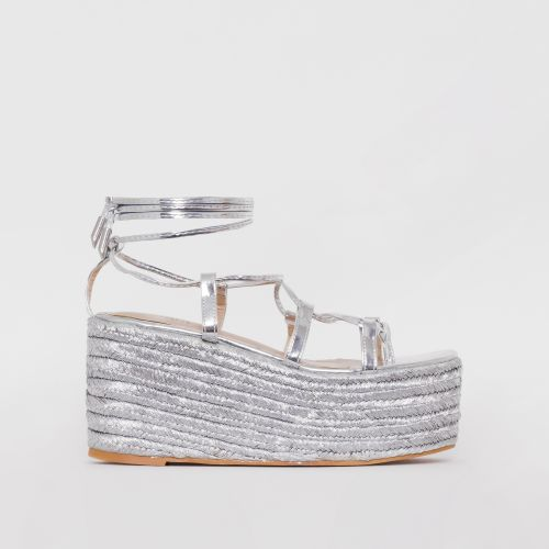 Terisa Silver Patent Lace Up Espadrille Flatforms