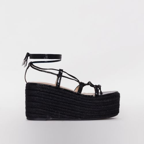 Terisa Black Faux Snake Print Lace Up Espadrille Flatforms