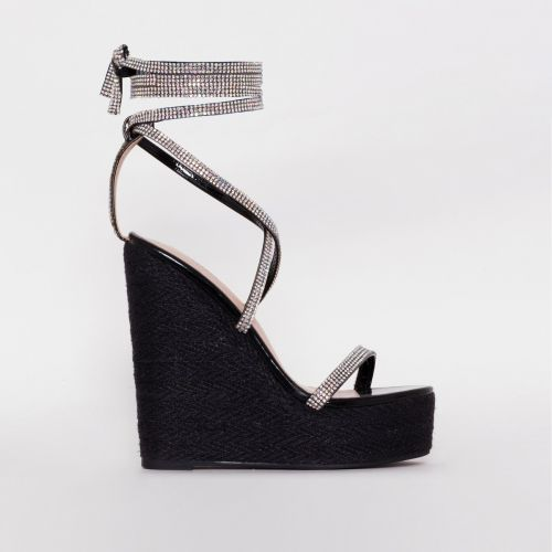 Ciara Black Patent Diamante Lace Up Espadrille Wedges