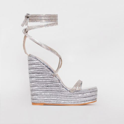 Ciara Silver Diamante Lace Up Espadrille Wedges
