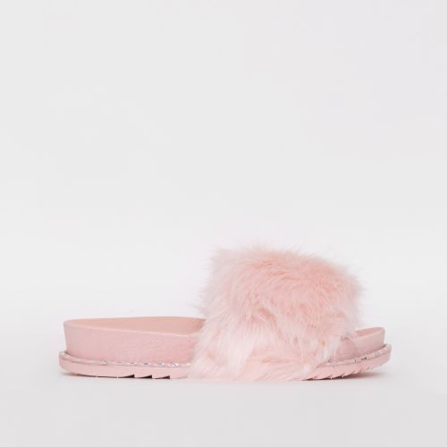 Effie Pink Faux Fur Studded Sliders
