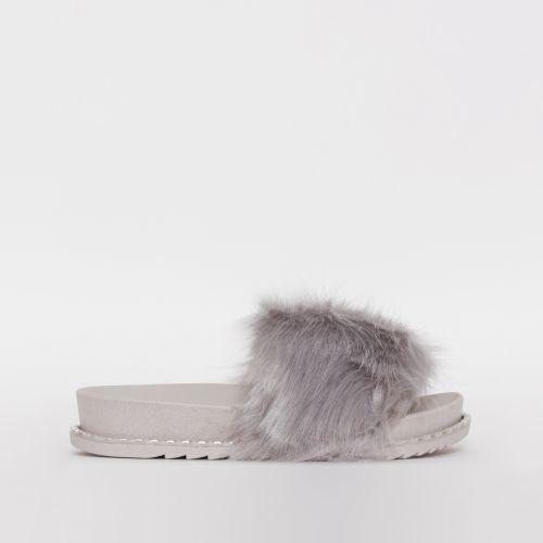 Effie Grey Faux Fur Studded Sliders