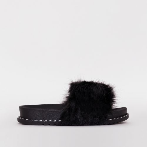 Effie Black Faux Fur Studded Sliders