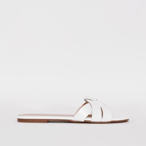 Zahara White Twist Strap Flat Slides