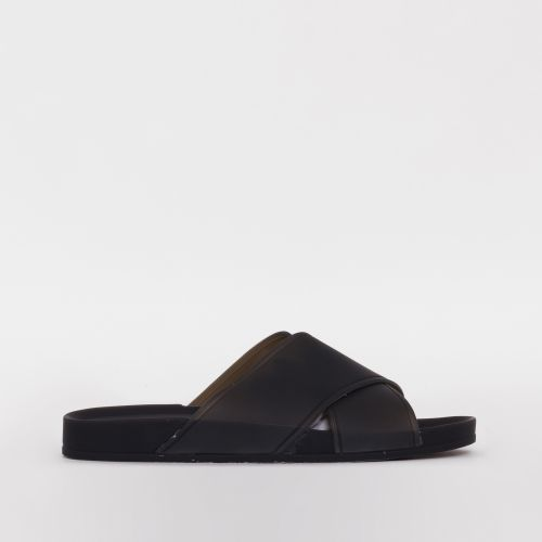 Skyler Black Cross Strap Flat Sliders
