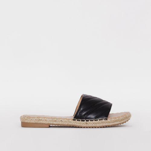 Adalia Black Quilted Espadrille Flat Sandals