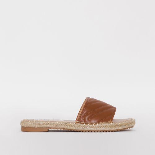 Adalia Nude Quilted Espadrille Flat Sandals