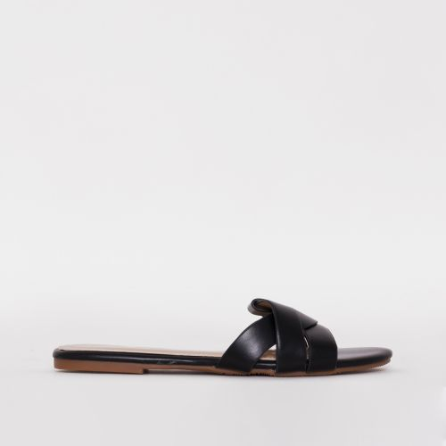 Zahara Black Twist Strap Flat Slides