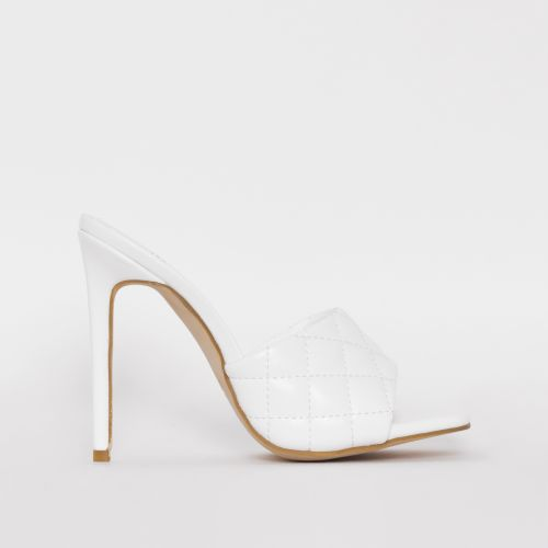 Marian White Quilted Mule Heels