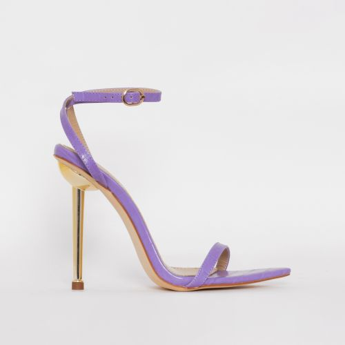 Fran Purple Faux Croc Print Stiletto Heels