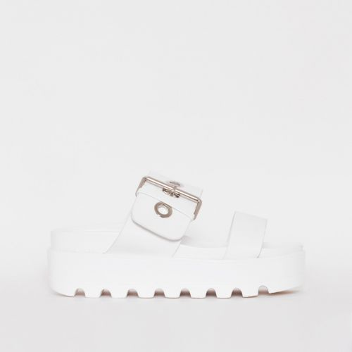 Axel White Buckle Detail Chunky Flatforms