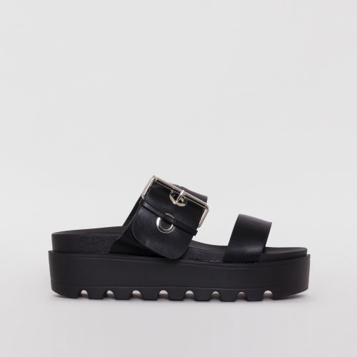 Axel Black Buckle Detail Chunky Flatforms