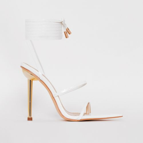 Tyler White Faux Snake Print Lace Up Heels
