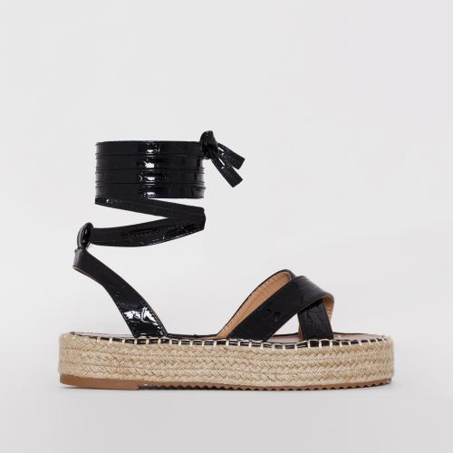 Adira Black Faux Croc Print Lace Up Espadrille Flatforms