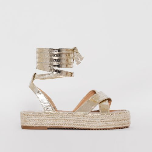 Adira Light Gold Faux Croc Print Lace Up Espadrille Flatforms