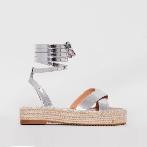 Adira Silver Faux Croc Print Lace Up Espadrille Flatforms