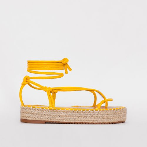 Frieda Yellow Lace Up Espadrille Flatform Sandals