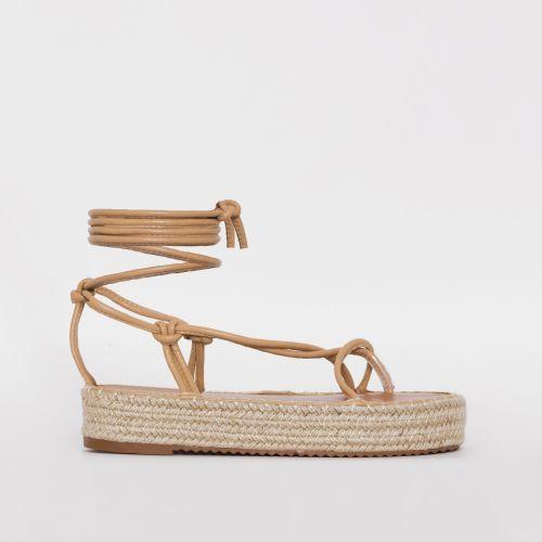 Frieda Beige Lace Up Espadrille Flatform Sandals